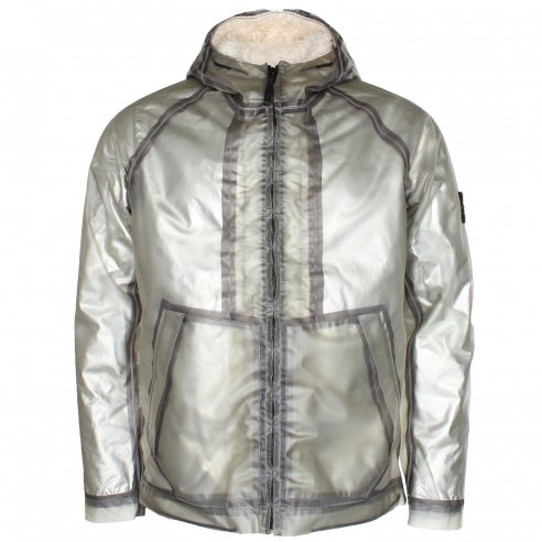 Stone Island 491Y1 Poly Cover Composite Jacket + Poly Fur Silver Detachable Lining