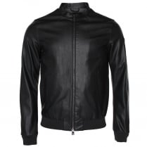 Armani Jeans C6B73 Faux Leather Bomber Jacket