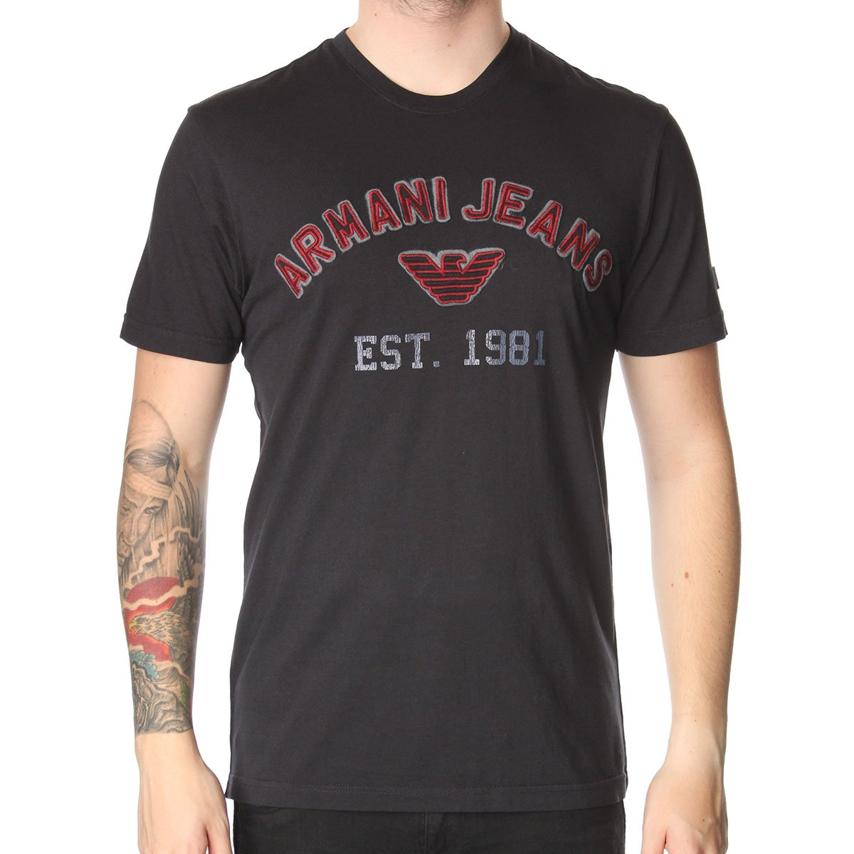 armani jeans h39 print t shirt armani jeans from the menswear site uk. Black Bedroom Furniture Sets. Home Design Ideas