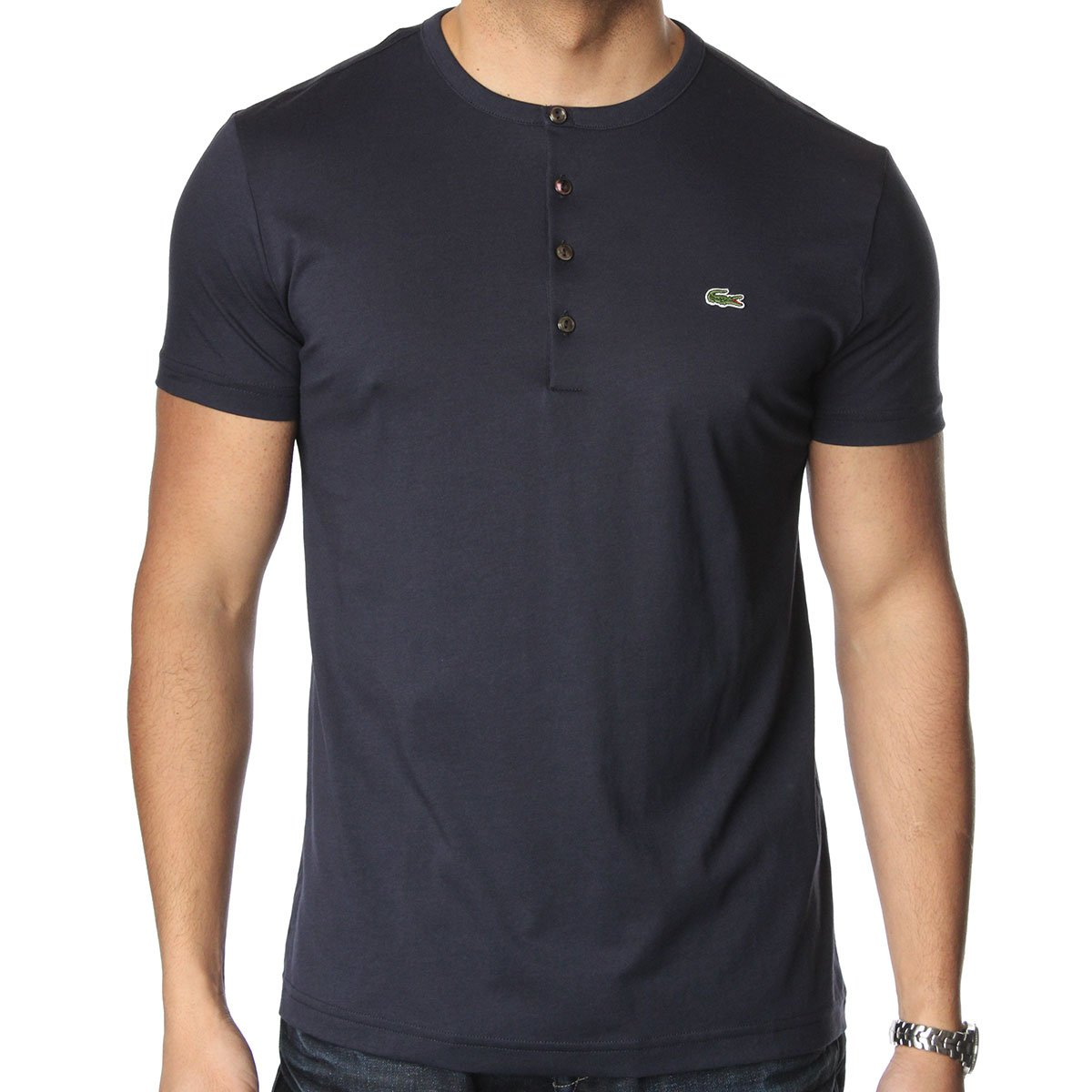 lacoste th3081 grandad t shirt lacoste from the menswear site uk. Black Bedroom Furniture Sets. Home Design Ideas