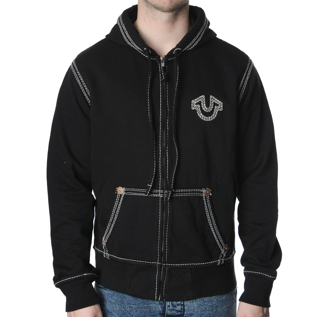 true religion stitch logo hooded jumper true religion from the menswear site uk. Black Bedroom Furniture Sets. Home Design Ideas