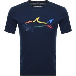 Paul & Shark Rainbow Shark Logo T-Shirt